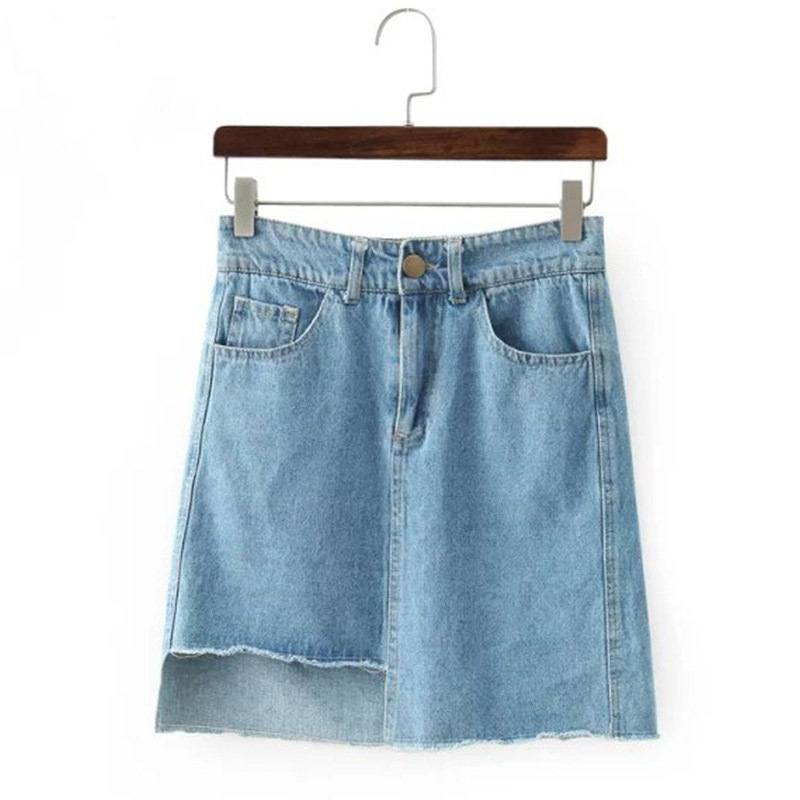 ce1bb7e5b7d Get Quotations · 2015 Summer New Fashion Cut Off Denim Pencil Skirt Women  High Waist Mini Blue Jeans Stretch
