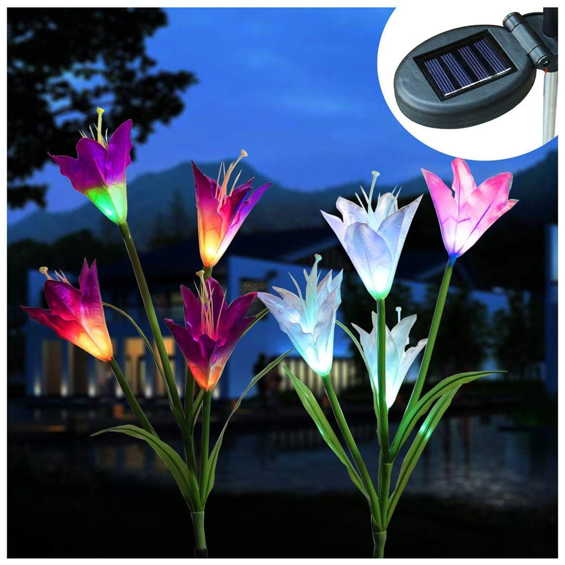 Outdoors Solar Garden Stake Lights 2 Pack Solar Powered LED Lights with 8 Lily Flower Multi-color Changing Decorative Solar Landscape Lighting for Patio, Lawn, Yard, Pathway (Purple White)
