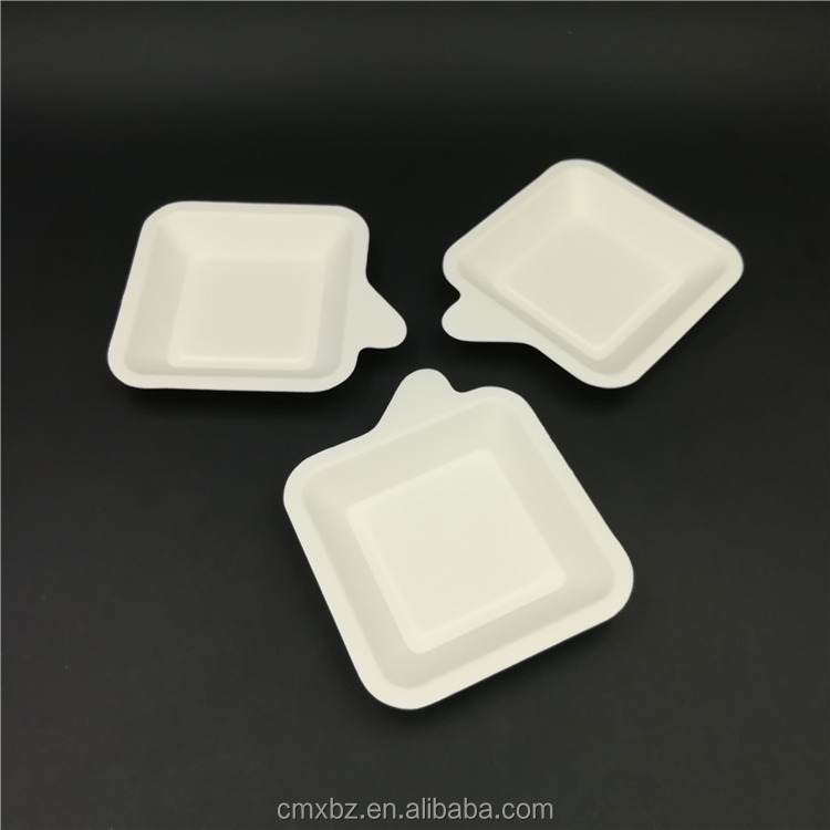Handle design small white square plates disposable party paper dish