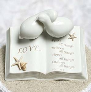 Porcelain Love Verse Bible with Doves and Starfish Beach Accents Wedding Cake Topper
