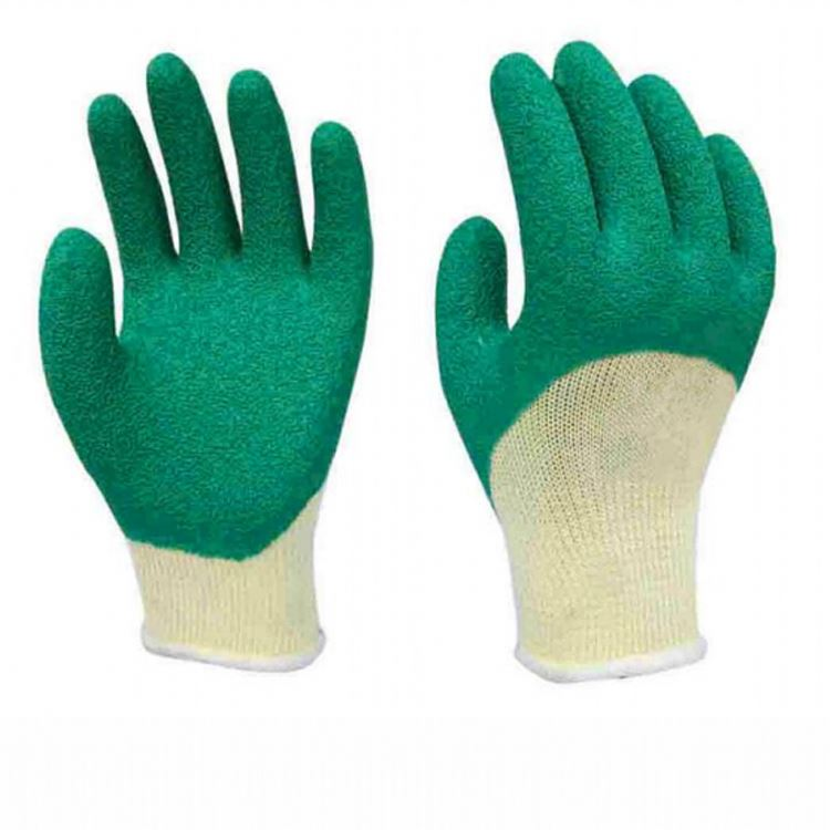Red color latex coated safety working gloves