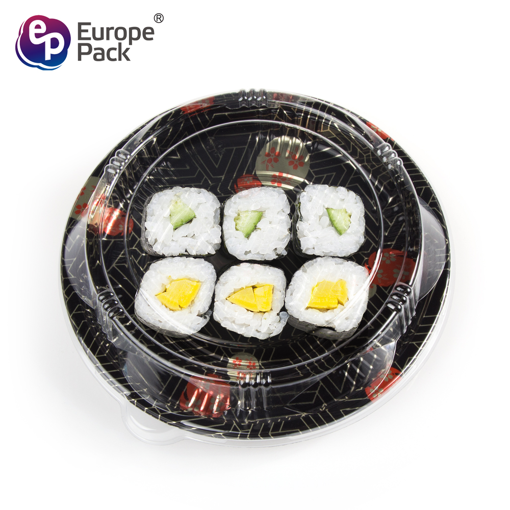 Eco-friendly PS/BOPS round shape sushi take out container