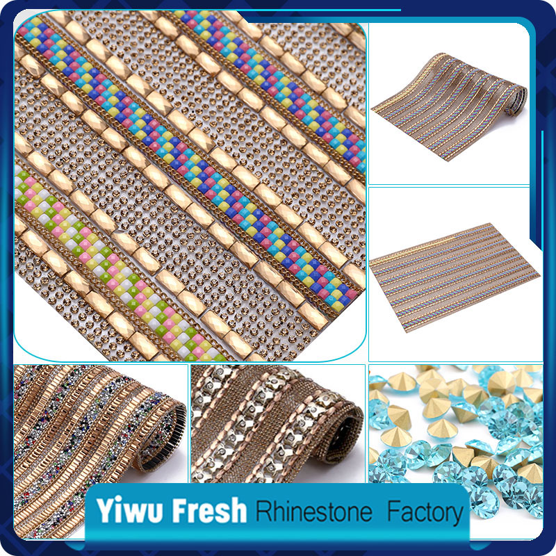 Crystal Rhinestone Sheet Mesh Fabric use for clothes accessories