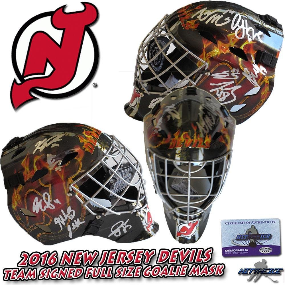 Get Quotations · 2016 NEW JERSEY DEVILS Team Signed FULL SIZE GOALIE MASK  w COA - HENRIQUE - 97d7bbf03