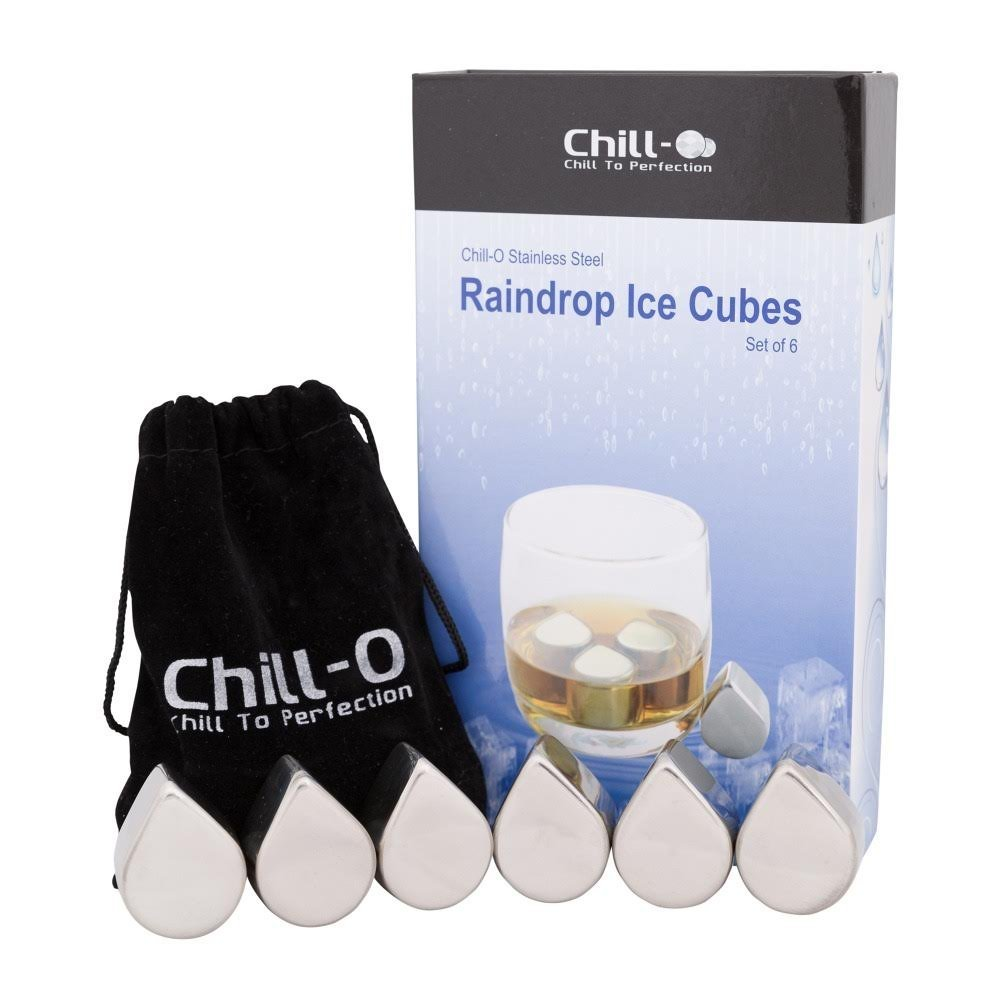 Chill-O Stainless Steel Raindrop Ice Cubes Set Of 6 Wine Chillers - Whiskey Chillers - Vodka Chillers - Champagne Chillers And Spirits Chillers
