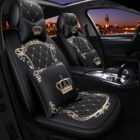 crown embroidery pattern fashion luxury fancy girlish leather universal fit car seat cover for nissan toyota benz