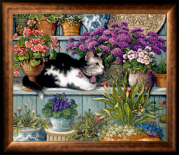 Needlework Craft Home decor French DMC Quality Counted Cross Stitch Kit/Set Oil painting 14 ct Blossom Rests Among the Flowers