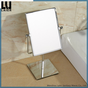 Tabletop Toilet Glass Double Sided Makeup Mirror Swivel Vanity With 3x Magnification Of Brass