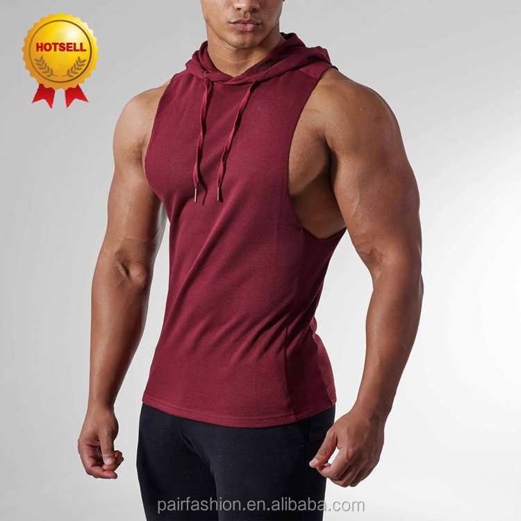 Bodybuilding Tank Top Hoodie, Pocket Tank Top Man With Hood, Long Workout Tank Top For Man