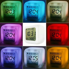 LED 7 Color Glowing Change Digital Glowing Thermometer Clock Cube