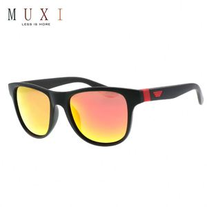 Bright color lens black temple promotional sports sunglasses uv400 pc, mens polarized cycling quality sunglasses with logo print
