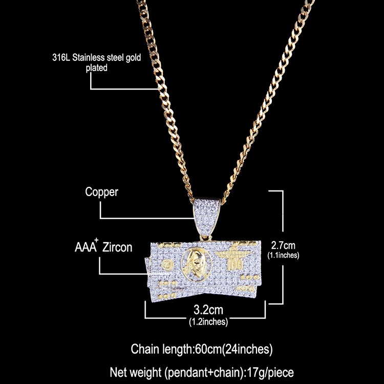 Hip Hop Dollar Shape Pendant Necklace With Chain New Arrival Fashion AAA Zircon Rapper Necklace For Men Women