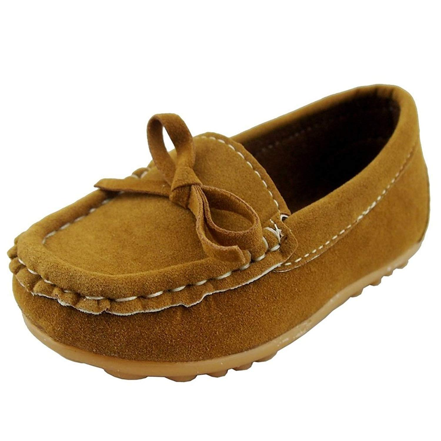 379412cfbbc Get Quotations · iLory Boy s Girl s Casual Suede Leather Slip-on Loafers  Oxford Flat Boat Shoes Toddler Shoes