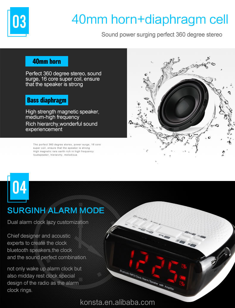 Portable am fm portable radio with clock bluetooth speaker mp3