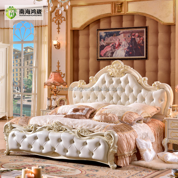 Antique Luxury Rococo European Baroque Bed French Provincial Wedding Hand Carved Wooden Mdf Bedroom Set Cardboard