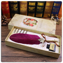 High quality Natural Turkey Feather Quill Pen/Best Wedding Gift Feather Fountain Pen Set