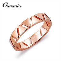 Especial Design Rose Gold Plated Unique Silver Wedding Band Rings with Delta Symbol for Girls