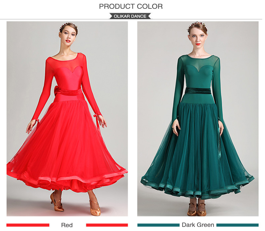 2019 Modern Waltz Ballroom Dance Competition Dresses For Women Standard Dance Dress Fluffy Skirt Adults Standard Ballroom Dress