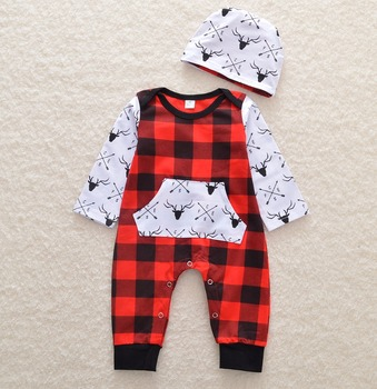 58c3b41e2adc 0-24M Newborn Baby Boy Girl Christmas Outfit Long Sleeve Red Plaid Deer  Print Cotton