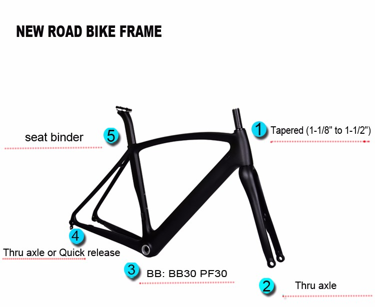 700C Full Carbon Fiber Road Bicycle Frame Bike V Brake Taper Fork Headset 1-1//2
