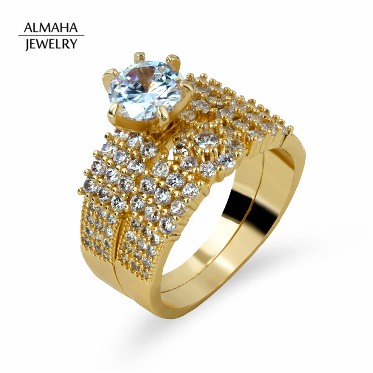 Accessories Women Jewelry 18k Wedding Engagement Diamond Saudi Gold Jewelry Ring Set