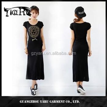 10735eee7e7f Fashion maxi summer dress for women short sleeve cotton fabric black women  fashion dress name