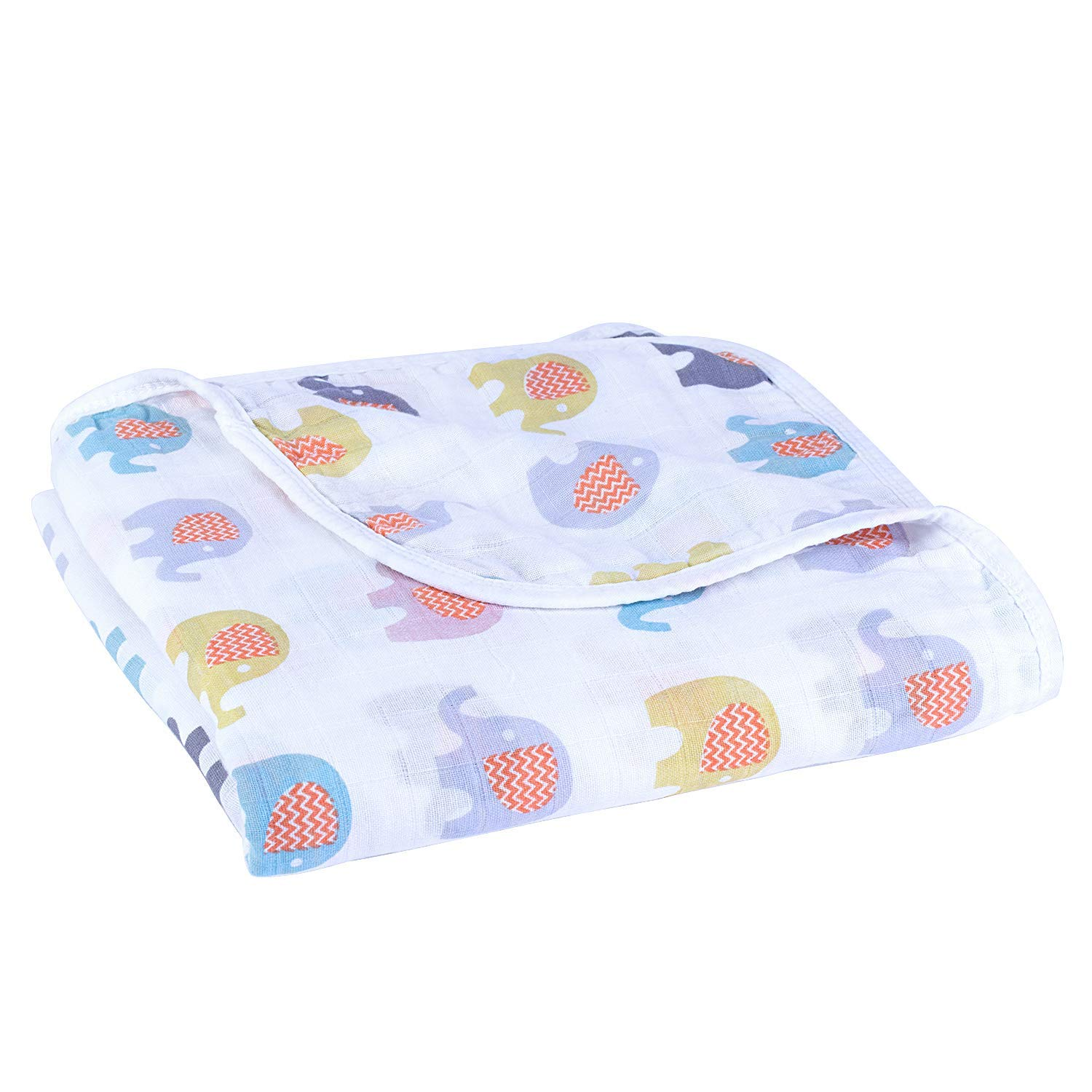 Baby Cotton Muslin Swaddle Blankets - 100% Cotton 4 Layer Super Soft & Breathable Receiving Blankets, 44 x 44 inch (Elephant)