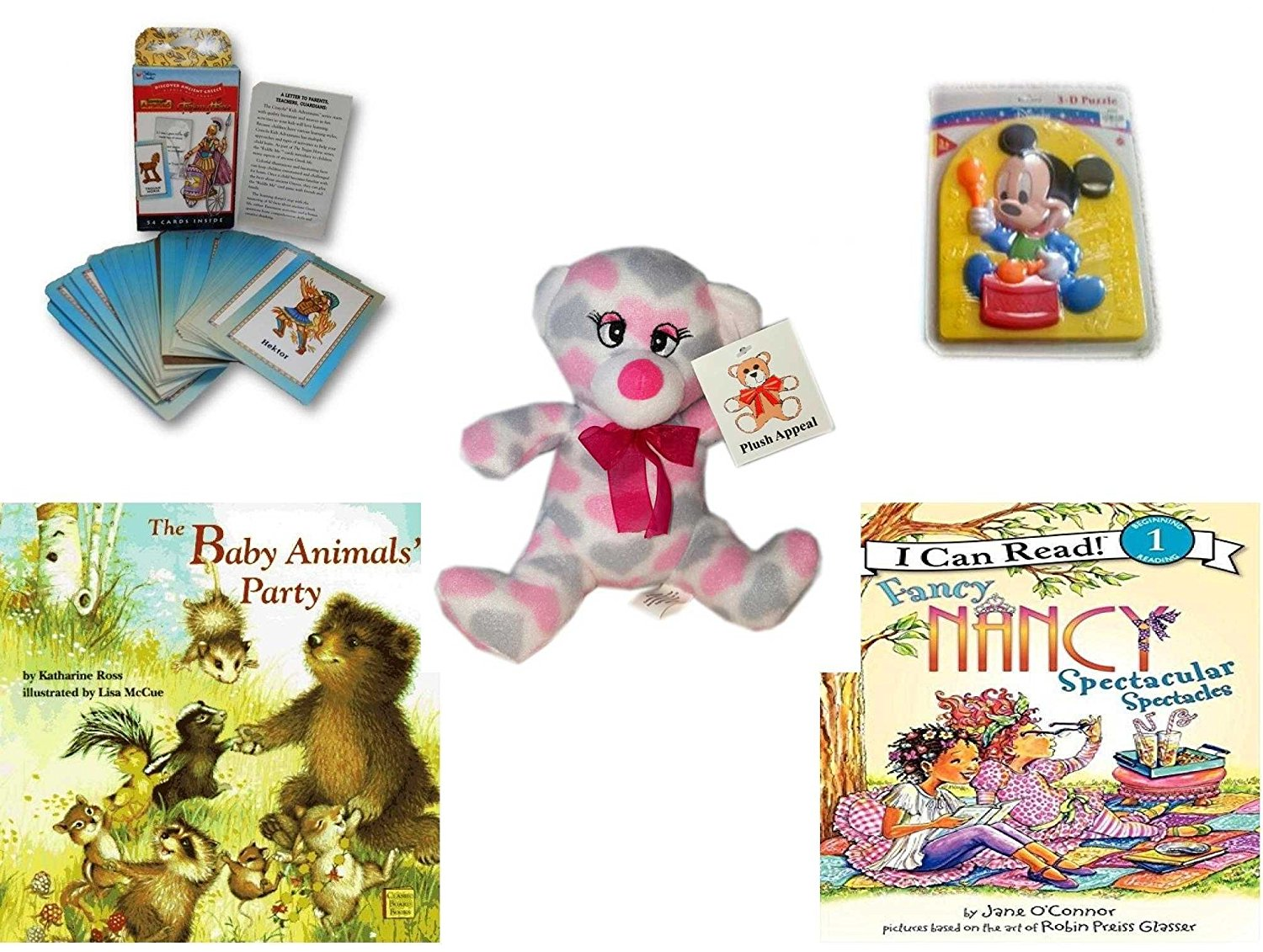 Children's Gift Bundle - Ages 3-5 [5 Piece] - Discover Ancient Greece Riddle Me Playing Card Game - Preschool Disney Baby Mickey 3D Puzzle Toy - Plush Appeal Pretty Pink and Purple Hearts Bear Plush
