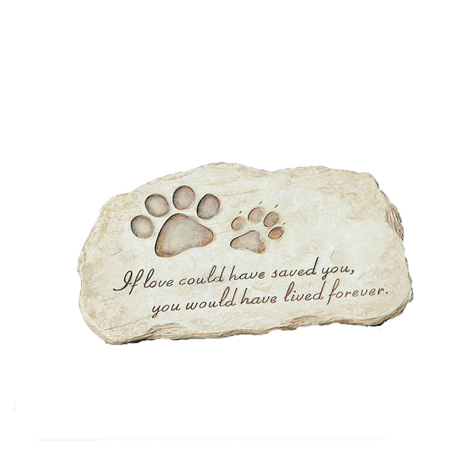Resin Memory Stone Personalised Pet Memorial Plaques with Dog Paw Print