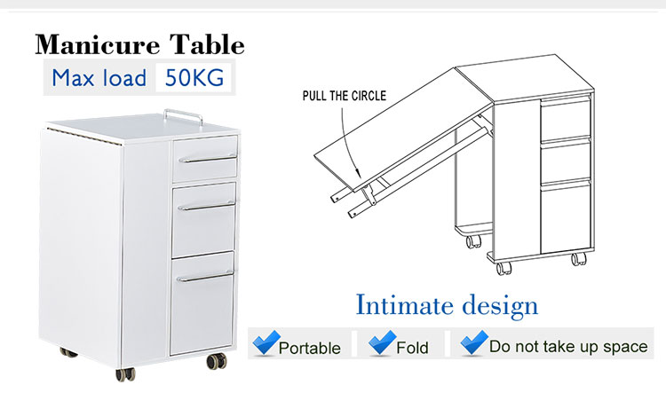 folding nail salon white manicure table