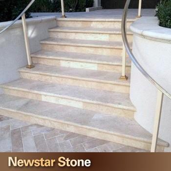 Us Standard Honed Beige Color Limestone Steps Limestone Staircase