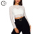 Custom Women's Fashion White Long Sleeve Lace Crop Top