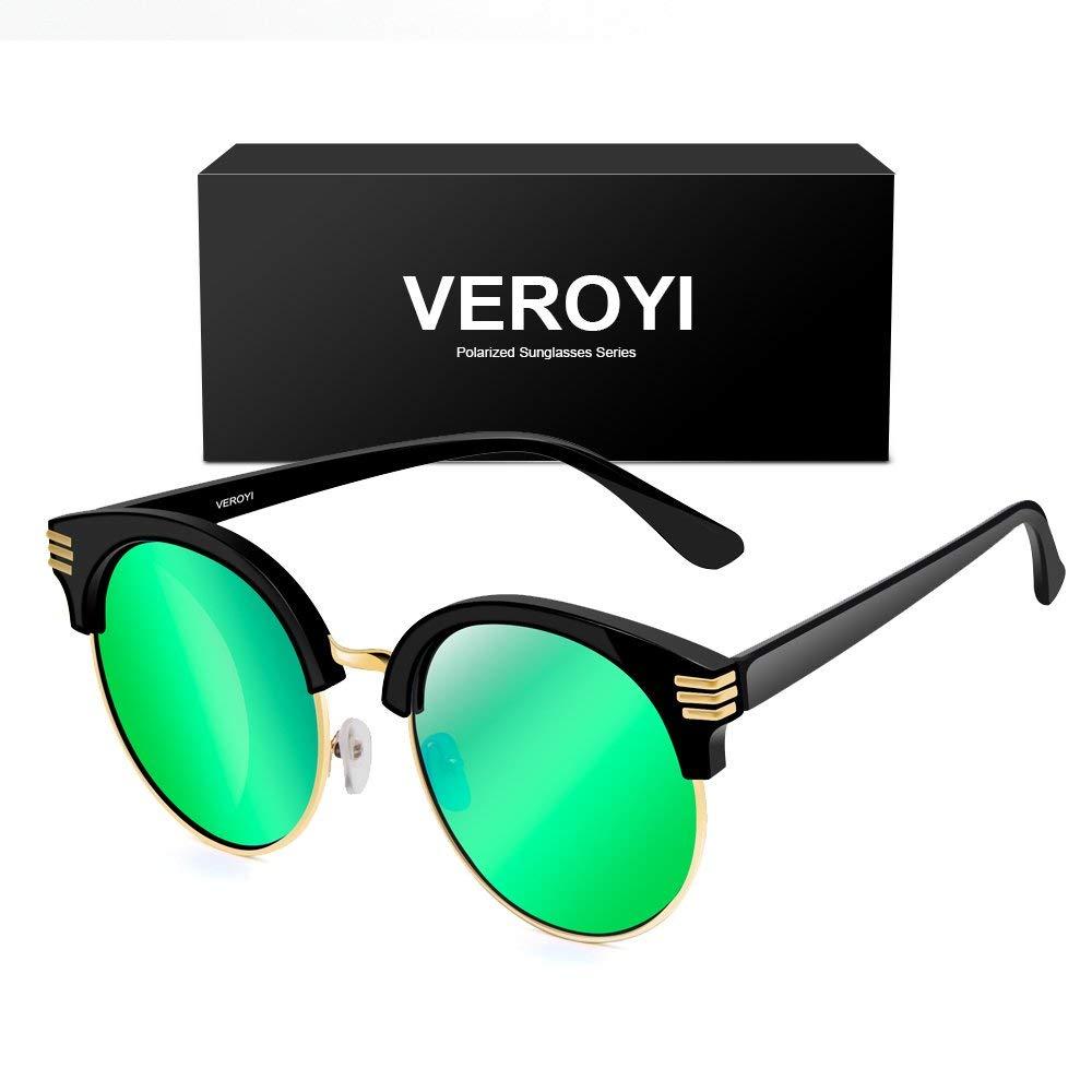 dc0912535ba Get Quotations · Veroyi 1821 Round Half-frame Retro Polarized Sunglasses  for Men and Women
