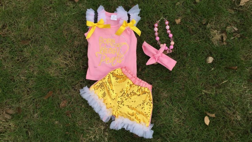 sequin pants girls Kids Metallic clothes Kids Gold clothes shorts set girls summer boutique shorts outifts headband necklace
