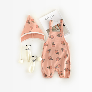 Organic cotton wholesale baby clothes fruit printed newborn jumpsuit