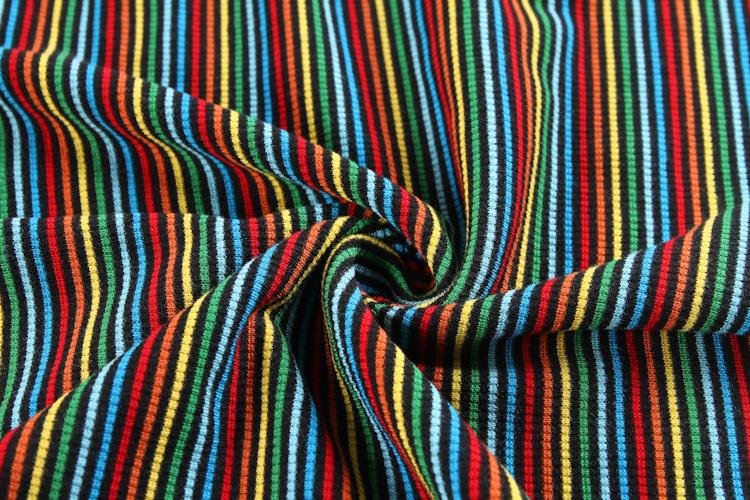 Shaoxing textile striped cuff polyester tubular custom rib knit fabric for garment