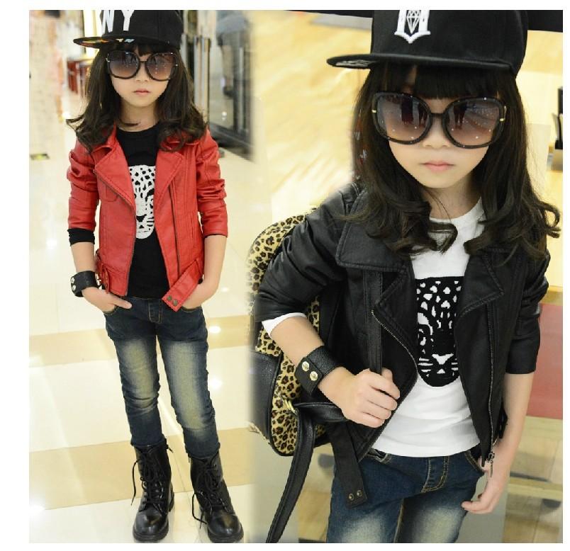 Los niños ropa de moda rebeca de la cremallera de piel