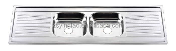 The Longest Double Bowl Stainless Steel Kitchen Sin with Double Drainboard -YTD180533A