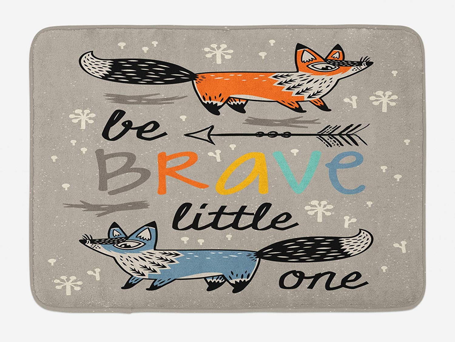 Lunarable Be Brave Bath Mat, Be Brave Little One Quote with Ornamental Foxes Arrows Flowers Childish Design, Plush Bathroom Decor Mat with Non Slip Backing, 29.5 W X 17.5 W Inches, Multicolor
