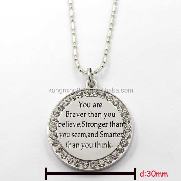 Round pendant with cheerful sayings, CZ stone silver pendent For necklace