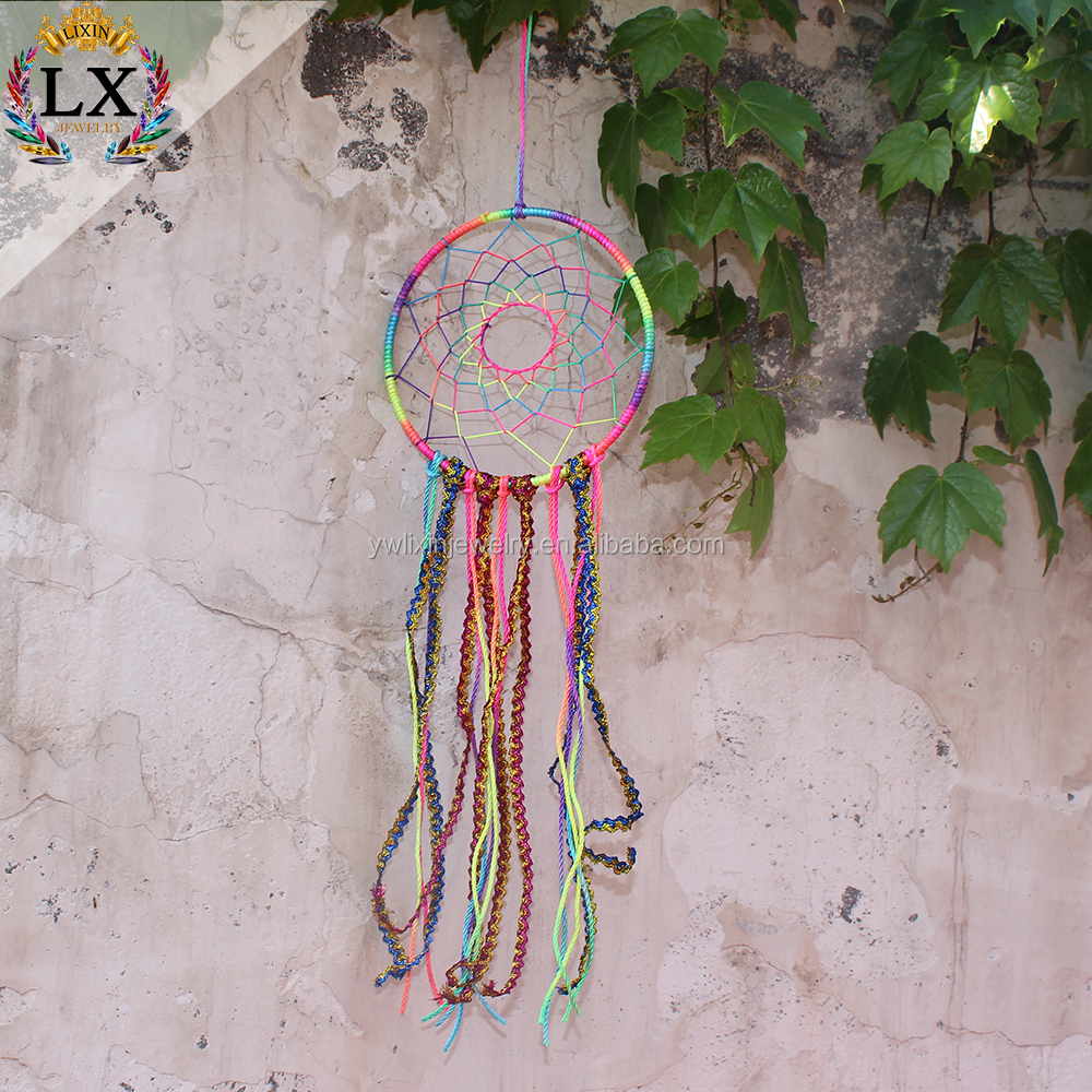 DLX-00023 colorful fabric ribbon lace dreamcatcher crochet dream catcher home decoration colorful thread macrame wall hanging