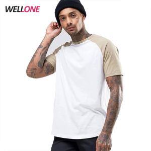 Hot sale 100% cotton round bottom white and beige custom print logo blank raglan men plain t shirts for printing