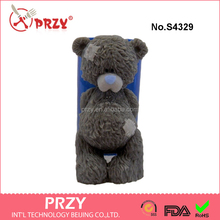 "S4329 ""Teddy Bear is feeling guilty"" silicone mold for soap and candles making mould"