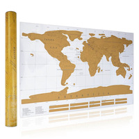 88x52CM Gold Foil World Map Easy To Scratch Off
