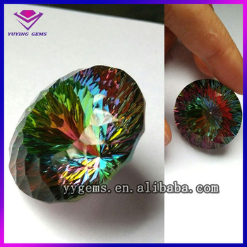 jewelry stones type round brilliant shape color plating cubic zirconia concave cut faceted cz