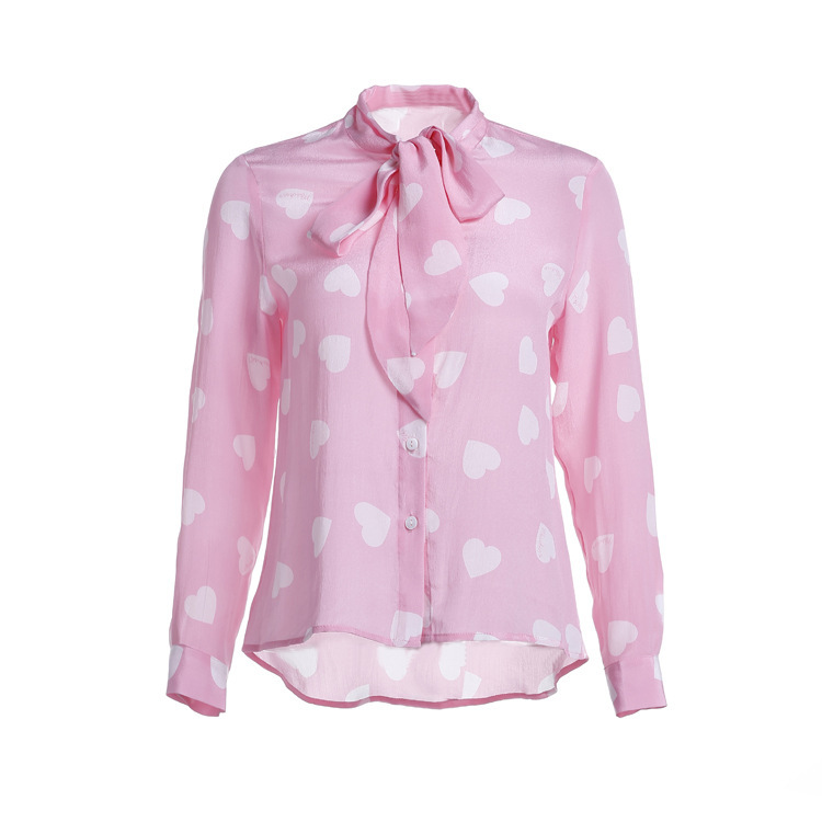 8354a40fed523 Get Quotations · 2015 wholesale new high quality fashion women s Runway  100% silk love print pink top long