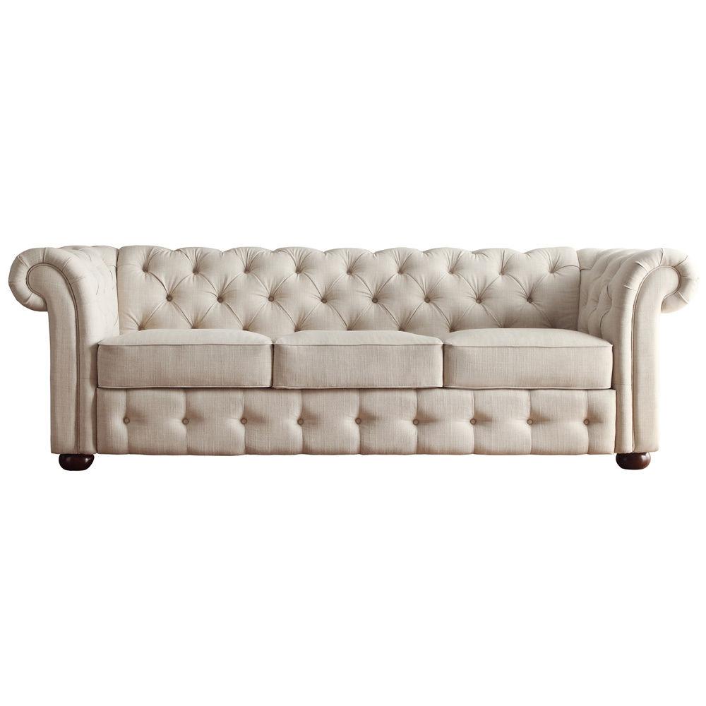 Tecido de linho bege tufados deslocamento do bra o do sof - Sofa cama chesterfield ...