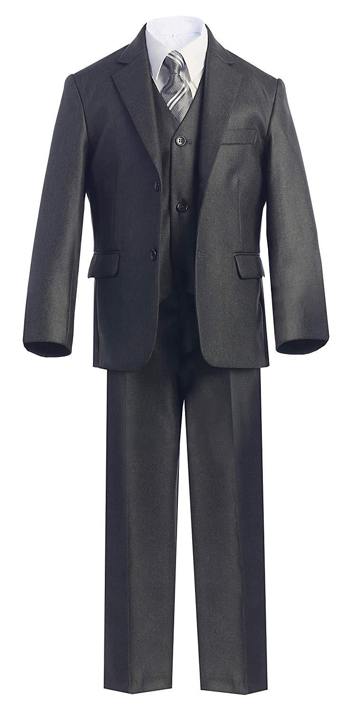 Magen Kids 5 Pc Boys Formal Gray Suit,Vest,Pant,Dress Shirt,Tie Set Size 2-18