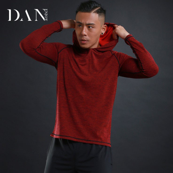 2018 New Men's Long Sleeve T-shirt Thin Breathable Fitness Training Sports And Leisure Elastic Tail Cursor Hooded Sweater
