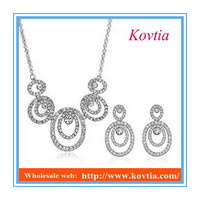 Dubai fashion jewelry sets micro pave setting plated silver jewelry set